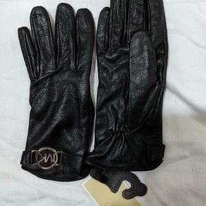 Michael Kors Circle Logo Black Leather Gloves